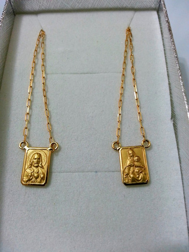 escapulário ouro 18k dupla face 2,3 gr