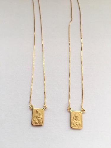 escapulario ouro 18k veneziana feminino masculino