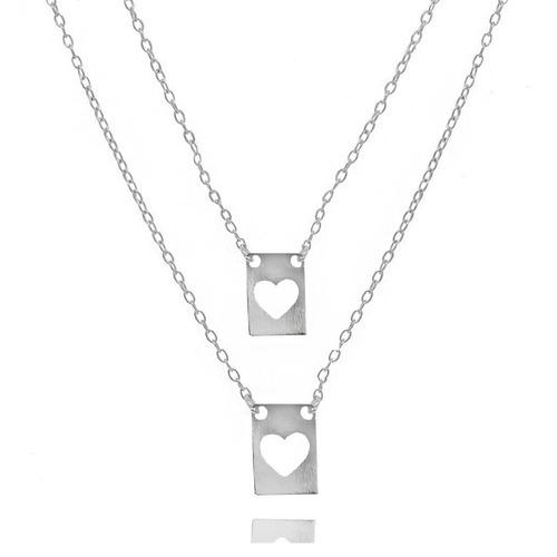 escapulário placa coração vazado folheado prata 1000