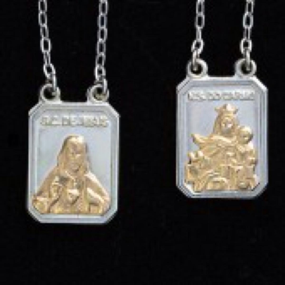 01e467a581f escapulário prata e ouro católico corrente jesus cristo. Carregando zoom.