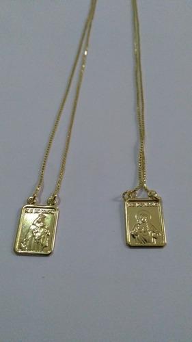 escapulario religioso catolico com 5 banhos de ouro18k
