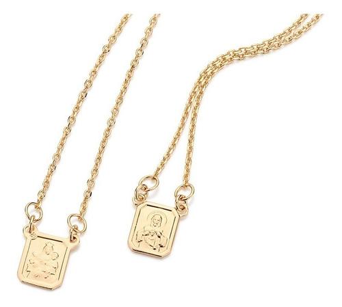 escapulário rommanel fol ouro 18k coração de jesus 531222
