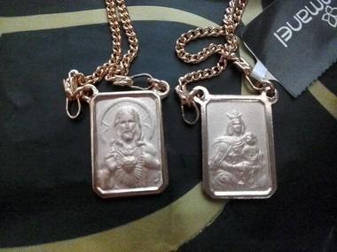 escapulário rommanel fol ouro18k com medalhas 530768