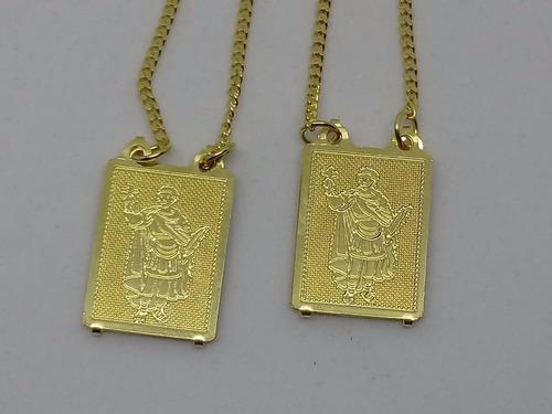 escapulário santo expedito folheado a ouro 18k