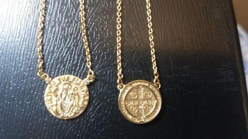 escapulario são bento em ouro 18k/750 com diamantes