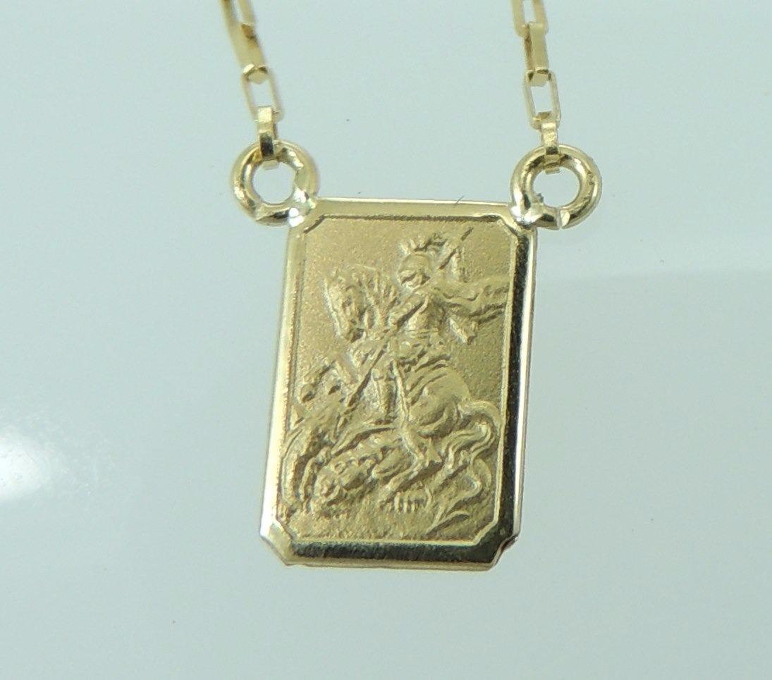 42dfa4f327fe2 escapulário são jorge sagrado coração jesus em ouro 18k 750. Carregando  zoom.