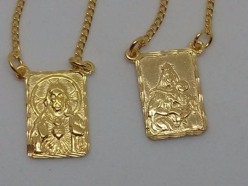 escapulario tradicional folheado a ouro18k com caixa