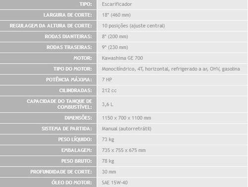 escarificador de grama 7hp kawashima sr310 18 polegadas
