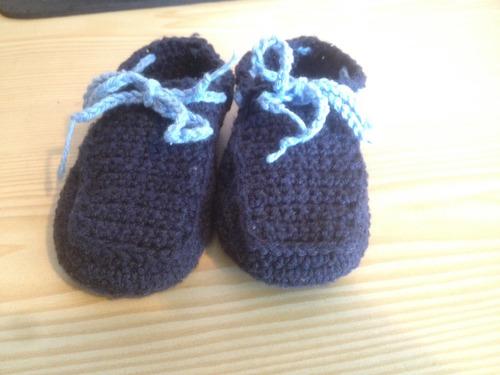 escarpines tejidos a mano para recién nacidos (0 a 6 meses)