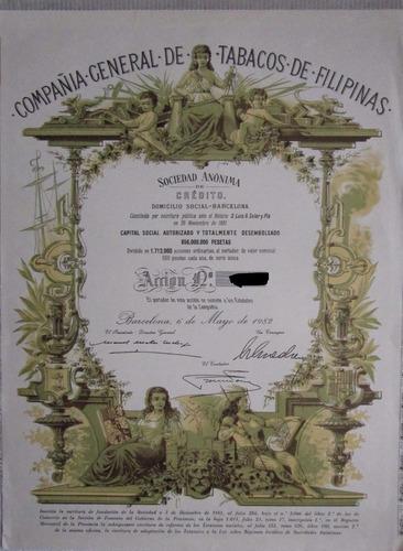 escasa accion/bono cia general de tabacos de filipinas 1982!