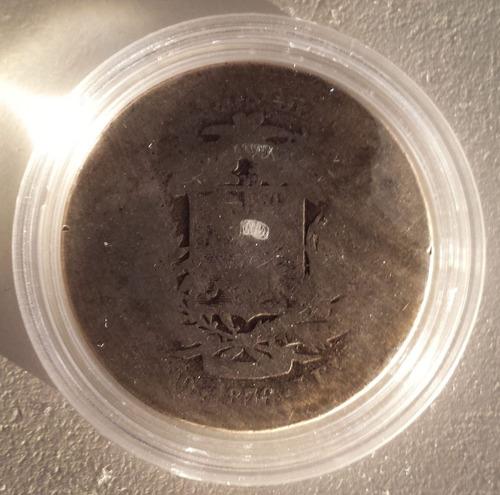 escasa moneda venezuela 50 centavos 1876 plata g- 5 reales