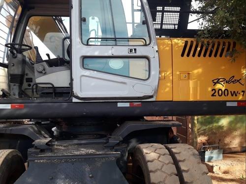 escavadeira de rodas hyundai r200w com garra florestal