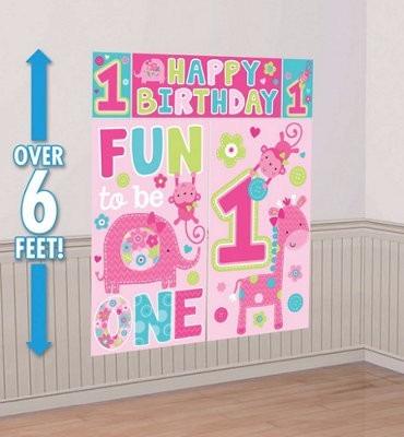 escena decoración fiesta gigante primer año niña