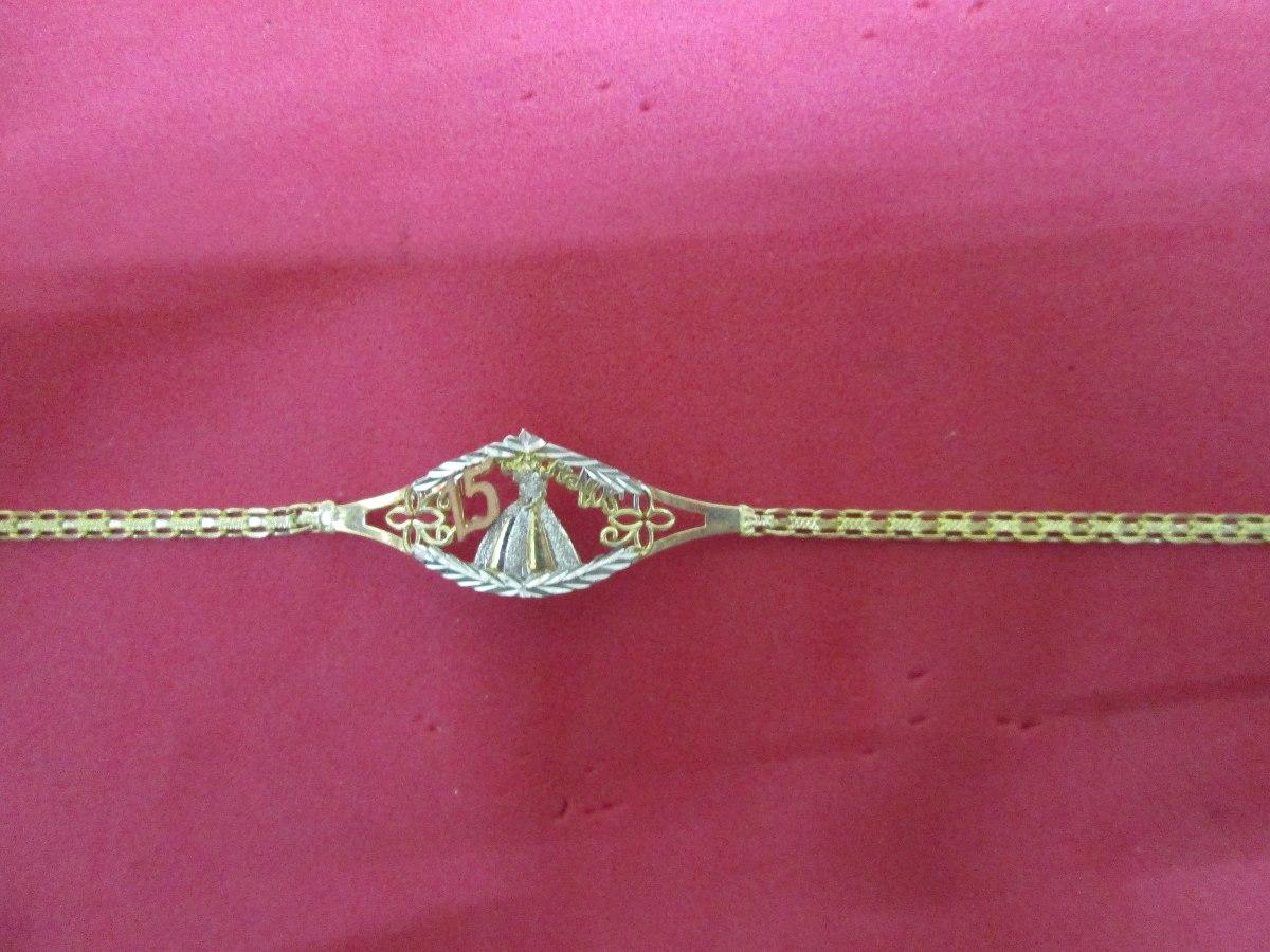 555a8fe43497 Esclava 15 Años Quinceañera En Oro De 10 Kilates.
