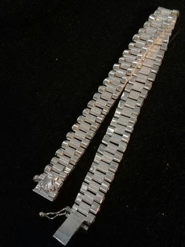 esclava con logo rolex en plata quintada - envio gratis