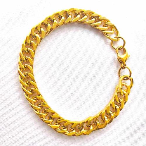 esclava cubana y cadena set acero inoxidable y oro laminado.