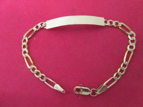 34f5fcec3286 Esclava Figaro Diamantada Niñ@ En Oro De 10 Kilates. 14 Cm.