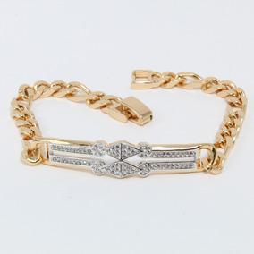 b07e9af17b7a Esclava Hombre Mujer Diamantes Oro Laminado 18k 19cm Moda