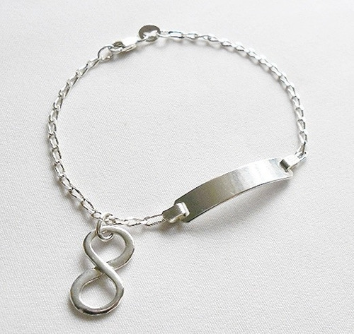 esclava pulsera + dije simbolo infinito plata 925 calidad