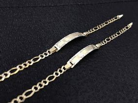 29e2171cd02a Esclavas Niños Oro Fino 10k Grabado Nombre 16cm Grabada