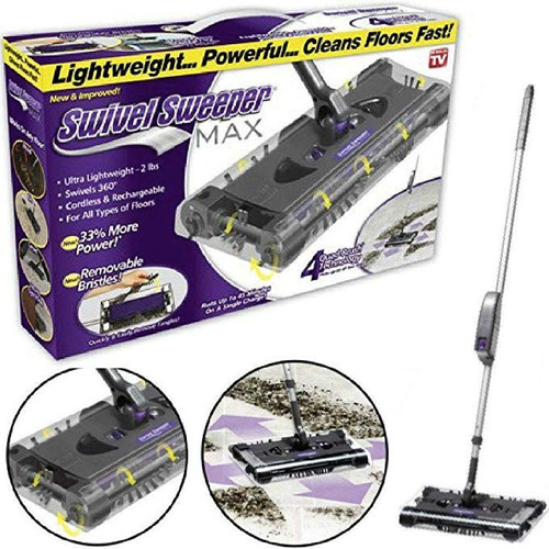escoba eléctrica inalámbrica a batería swivel sweeper max