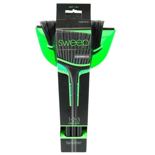 escoba + recogedor casabella 85502-negro con verde