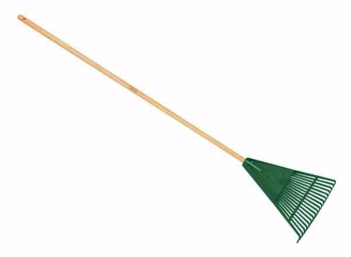 escobilla plástica para jardín con palo de madera 24 dientes