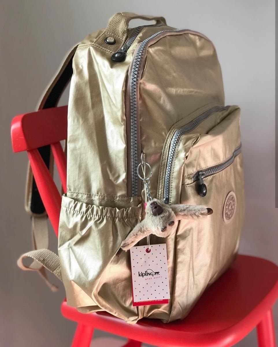 d19c48ad4 Carregando zoom... mochila escolar kipling seoul go l dourada metálica  original