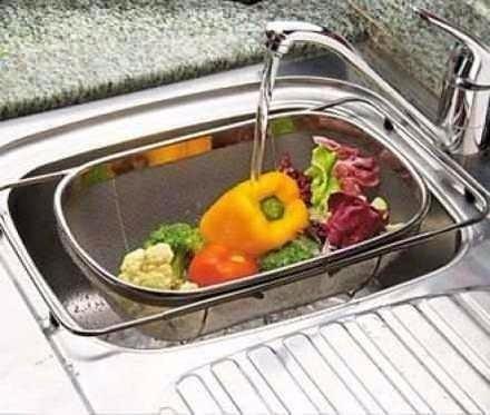 escorredor de alimentos macarrão legumes - aço inox ke home