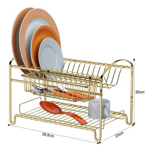 escorredor de louça 2 andares 16 pratos cozinha dourado