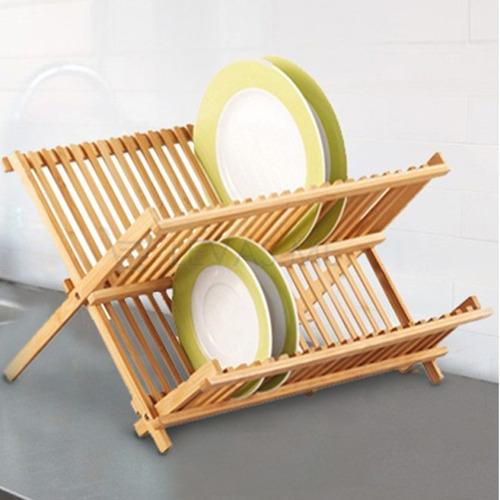 escorredor de louças dobrável e porta talheres pia bambu