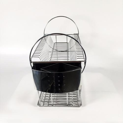 escorredor inox 16 pratos com porta talheres