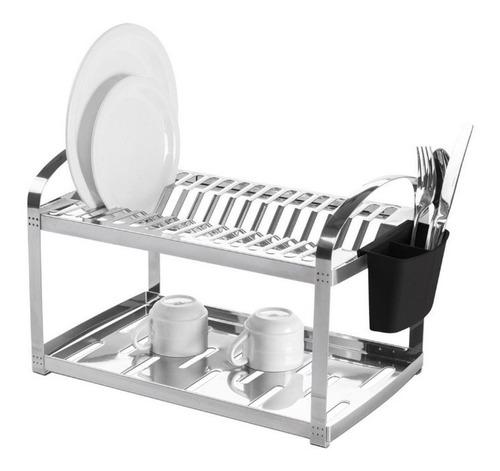 escorredor inox 16 pratos porta talheres plástico brinox