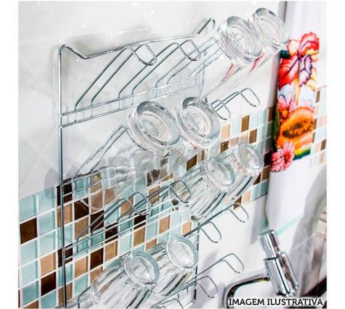 escorredor parede suporte cromado para ate 20 copos