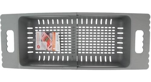 escorredor pia de plástico ajustável multiuso alça retrátil