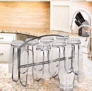 escorredor suporte de copo porta copo em aço cromado - 6 lug