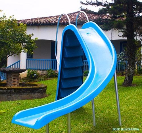 escorregador escada grande piscina 3,24m pista curva água