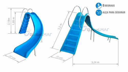 escorregador grande curvo de piscinas toboágua fibra complet