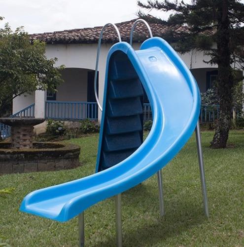 escorregador p/ piscina pista curvo 4,00 fibra saída água