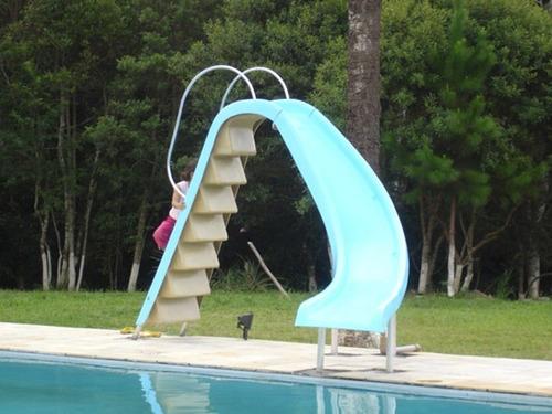 escorregador para piscina pista curvo 4,00 fibra saída água