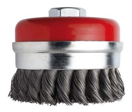 escova copo aço carbono trançada 2.1/2 pol. 63,5mm m14 ômega