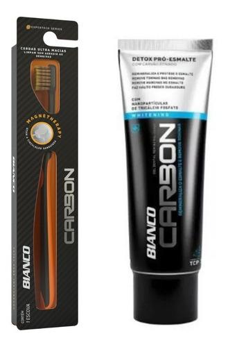 escova de dente carbon + creme dental carvão ativado 100g