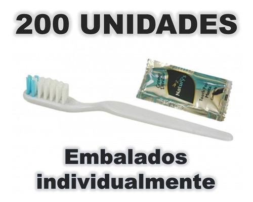 escova dental descartável com sachê de creme dental 200 unid
