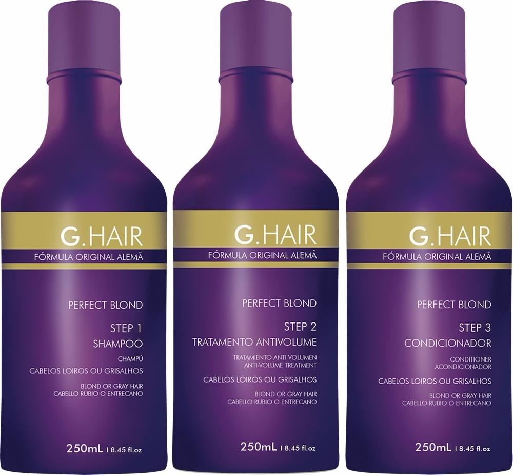69ac6b095 escova progressiva g-hair alemã perfect blond 3x250ml. Carregando zoom.