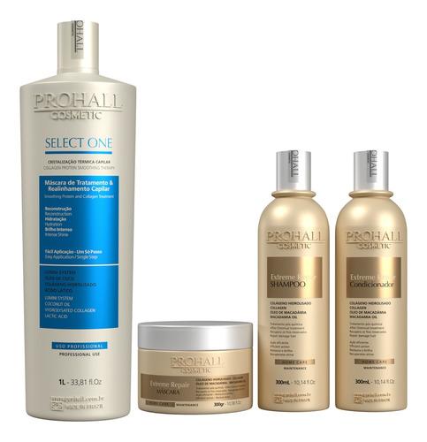 escova progressiva select one 1l  e kit pós química prohall