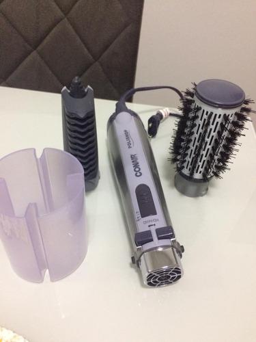 escova rotating air brush titanium conair