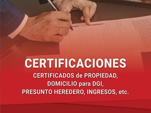 escribanía, autos, inmuebles y certificados en el día!