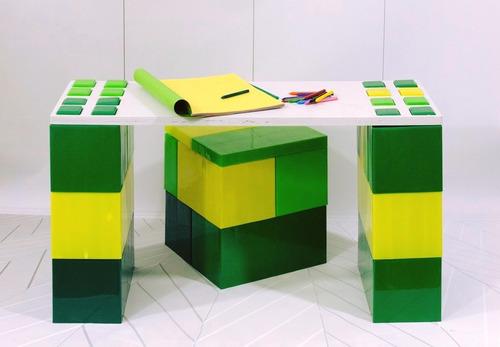 escritorio + banquito - ladrillos gigantes