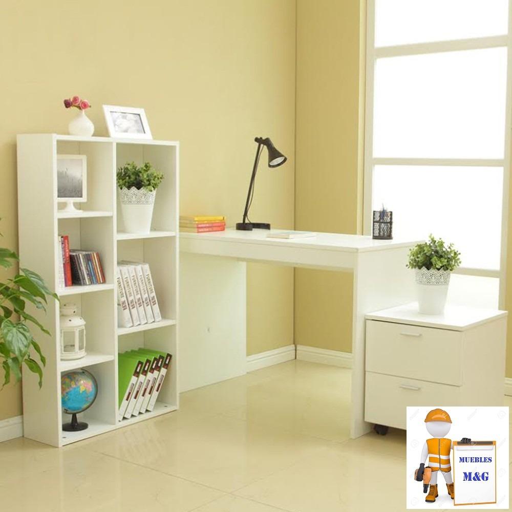 Escritorio biblioteca mueble con 02 cajones de for Libro de muebles de melamina