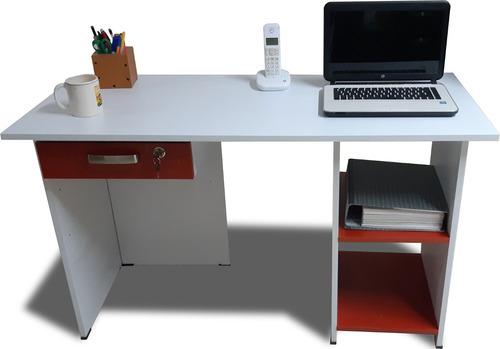 escritorio blanco 1.20x50 recto repisas y cajón c llave